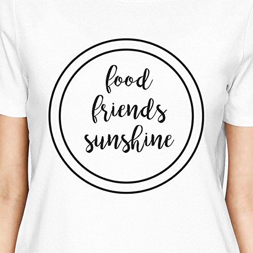 365 Printing - T-Shirt - Manches Courtes - Femme Food Friends Sunshine White Shirt