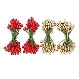 Shappy 400 Pezzi Ellittico Bacche di Agrifoglio Artificiale sul Filo per Decorazione Natalizia e Arrangiamento Floreale (Rosso e Oro)