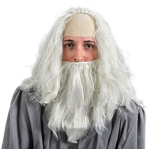 Gandalf Perücke mit Bart Zauberer Kostüm Zubehör Elbenwald Set Einheitsgröße creme, (Erwachsene Gandalf Perücke Und Bart Set)
