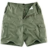 IKRR Pantalones Cortos Bermuda Cargos para Hombres Estilo Corto Verde Ejercito,XL