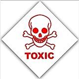 6x Giftig–Rot auf Weiß Externe selbstklebend ACHTUNG stickers-bottle logo-health und Sicherheit Schild