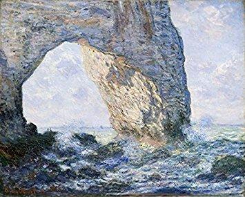 Wieco Art–lienzo la Manneporte de Claude Monet famoso pinturas al óleo reproducción arte–mar de paisaje playa fotos sobre Lienzo Pared Arte para oficina en casa decoración mon-0001