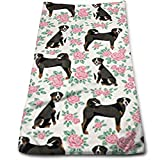Swiss Mountain Dog Roses Floral Dog Multi-Purpose Microfiber Towel Ultra Compact Super Absorbent and Fast Drying Sports Towel Travel Towel Beach Towel Perfect for Camping, Gym, Swimming.