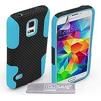 Yousave Accessories Tough Mesh Combo Silikon Cover Schutzhülle für Samsung Galaxy S5Mini–Blau/Schwarz