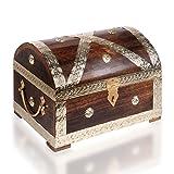 Piraten-Schatztruhe von Thunderdog - Holztruhe braun - Handarbeit Vintage mit und ohne Schloss verschiedene Größen - das ideale Geschenk (Piratenkönig L)