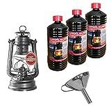 Feuerhand 276 Baby Special 276 Lanterne tempête en acier inoxydable avec entonnoir pour un remplissage facile et une huile de lampe de 3 l...