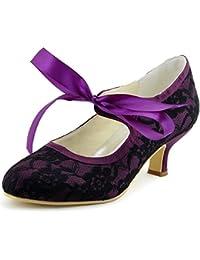 ElegantPark A3039-2 Women Pumps Closed Toe Mid Heels Mary Jane Prom Lace Ribbon Tie Wedding Party Shoes