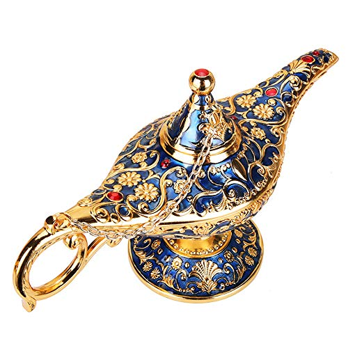 Lámpara mágica de Aladdin Leyenda de la vendimia Lámpara Aladdin Genio mágico que desea coleccionar Rare Clásico árabe Disfraz Props Lámpara de mesa Decoración Artesanía para Fiesta/Halloween