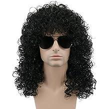 Karlery mens rizado largo negro duro 80 rocker peluca temática fiesta peluca disfraces de Halloween Anime