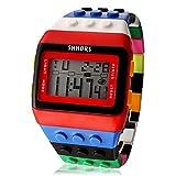 Unisex Regenbogen Lego Digital Quartz Uhrwerk Armbanduhr