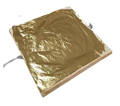 Meyerle24-Goldprodukte 100x BLATTGOLD 14x14cm - Premium Blatt-Metall Gold Hochglänzend - zum Vergolden Basteln Verschönern auf Wände, Gegenstände, Möbel usw. - einfach zu verarbeiten - 1,96m²