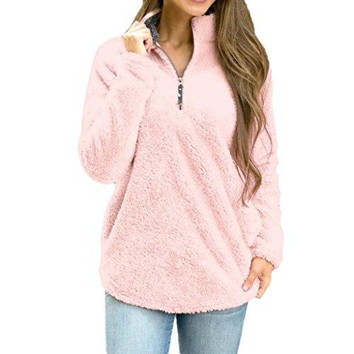 Damen Pullover,Beikoard Damen Stehkragen Winter Warm Langarm Sweatshirt Zipper Pulli Bluse T-shirts Reißverschluss Fleece Pullover Tops (L, Rosa) (Ärmel-mandarin-kragen-shirt)