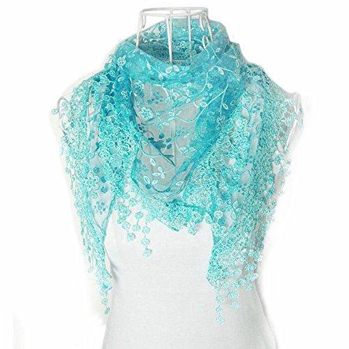 Seide Stricken Rollkragen (Zolimx Mode Lace Quaste Sheer Burntout Blumendruck Dreieck Mantilla Schal (Blau))