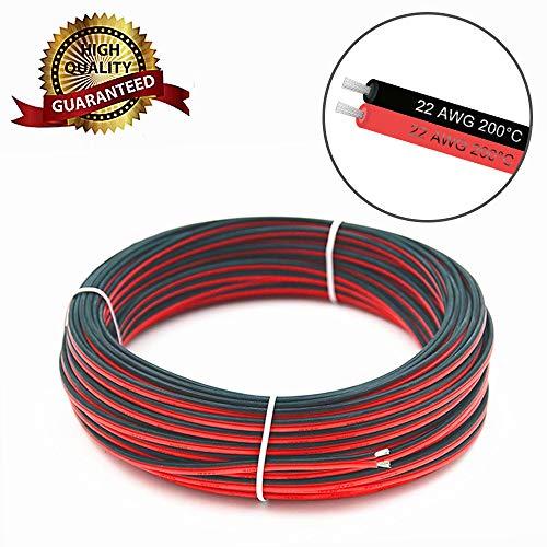 VEENY Verlängerungskabel Draht 66ft 20M 22AWG 300V AC Kabel Draht für 3528/2835/5050 LED Lichtleiste Einzel Farbe mit 10 freien Draht Haltern & einem kompakten Draht Abstreifer(22AWG 20M) -