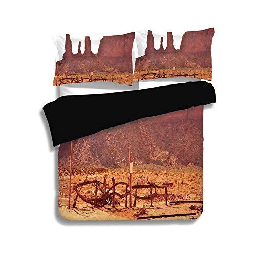Schwarzer Bettbezug Set, Haus Dekor, malerische archaische Monument Valley auf Western Desert Odd Formation von Rock und Cliff Print, Tan, dekorative 3 Pcs Bettwäsche Set von 2 Pillow Shams, TWIN-Größ