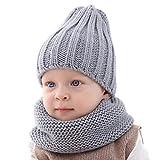 XingYue Direct Set di fazzoletti da Collo per Cappello Caldo in Maglia per Bambino, Sciarpa per Ragazzi in Puro Colore Invernale, Sciarpa per Bambina