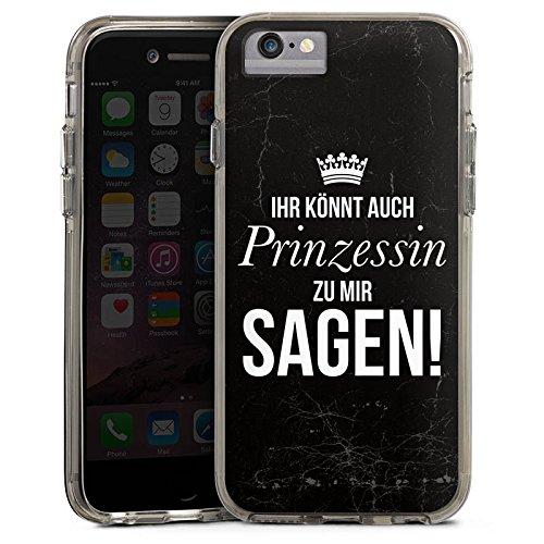 Apple iPhone 7 Bumper Hülle Bumper Case Glitzer Hülle Prinzessin Princess Girl Bumper Case transparent grau