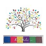 Windy5 Peach Bloom Signature Guestbook Matrimonio Fingerprint Tree con Un Inkpad (Colore Casuale)