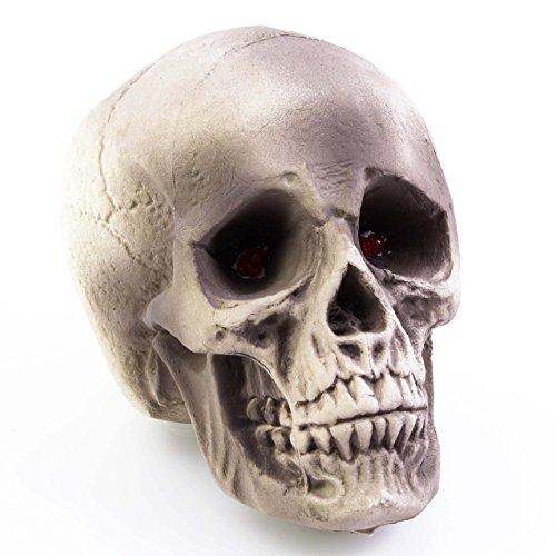 Halloween Totenkopf MATTY, weiß-grau, LEDs, 35 x 35 cm - Deko Toten Schädel - (Halloween Totenkopf)