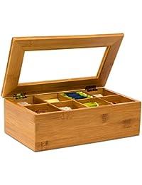Relaxdays Boîte à thé en bambou 8 compartiments Coffret sachets thé vrac HxlxP : 9 x 28 x 16 cm Fenêtre transparente, nature