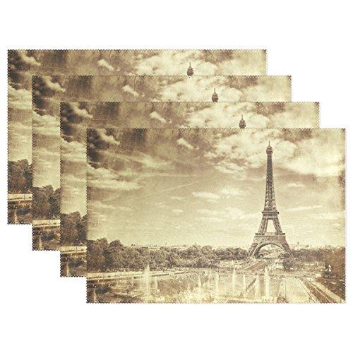 Paris Seine-touren (naanle Vintage Tour Eiffel in Paris Frankreich Platzdeckchen Set von 1/4/6waschbar Tisch Matte für Küche Esstisch 30,5x 45,7cm Platzsets Traditionell multi)