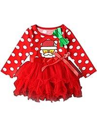 Navidad Fiesta Vestido Bebe Niña Disfraz K-youth® Papá Noel Imprimir Tutú Vestidos Niña Invierno Ropa Nina Oferta Manga Larga Princesa…