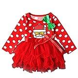 Navidad Fiesta Vestido Bebe Niña Disfraz K-youth® Papá Noel Imprimir Tutú Vestidos Niña Invierno Ropa Nina Oferta Manga Larga Princesa Vestido Bowknot (Rojo, 1-2 años)