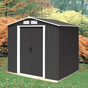 51lQcQSmBkL. SS300  - Madrid 6ft x 4ft Anthracite Metal Shed