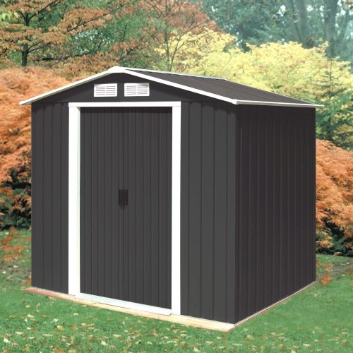 Madrid 6ft x 4ft Anthracite Metal Shed