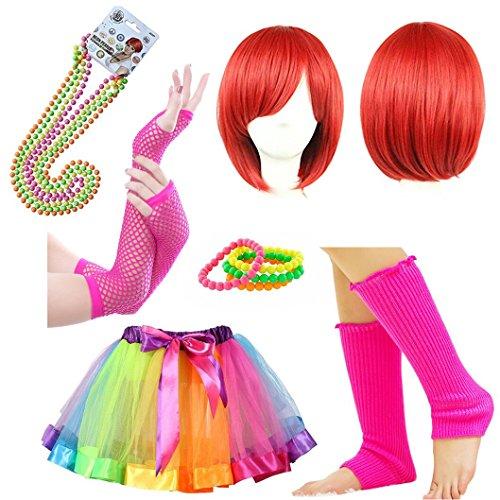 iLoveCos 1980s Party Kleid Costume Zubehör 80er Fancy Dress Outfit Rot Kurz Perücken Regenbogen Neon Erwachsener Tutu Armbänder Perlen Halskette Beinwärmer Handschuhe Halloween Kostüm Zubehör für Frauen (Mehrfarbig F2)