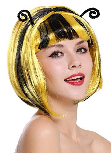 WIG ME UP - 91575-ZA2B+ZA103 Perücke Damen Karneval Fasching Biene Hummel schwarz gelb gesträhnt Bob Fühler