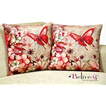 Belive-Me Jute 3D Printed Cushion Covers Set of 2 (24 inch x 24 inch / 60 cm x 60 cm, Butterfly Multicolor)