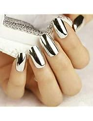 Ouneed® Argent Chrome Poudre Paillete Fond de Ongles Miroir Decor