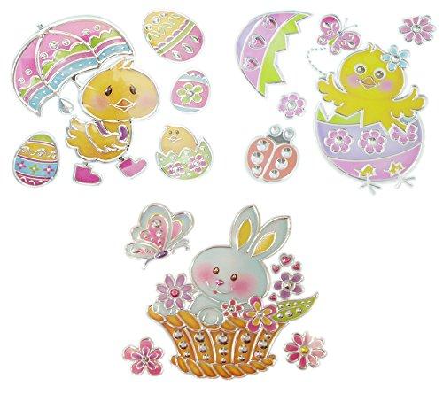 Ostern Spring Fensterdekoration Bundle-Liebenswürdig, Bunny Ducky und Chick Sun Catcher Fenster Aufkleber Aufkleber 3-Pack Ducky Chick & Bunny Merhfarbig
