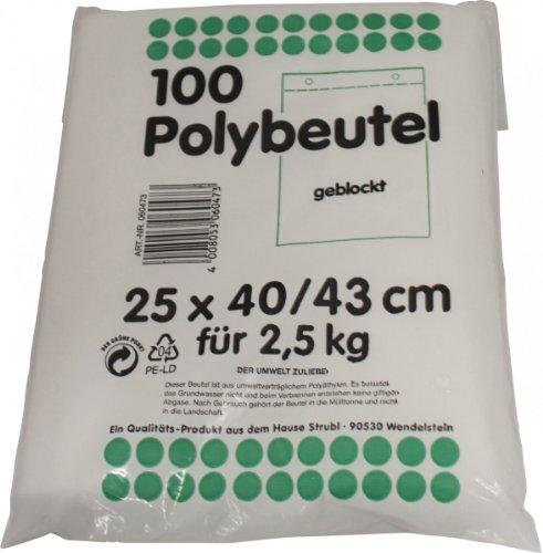 Preisvergleich Produktbild Strubl 100 Polybeutel geblockt 16cm x 24 / 27cm