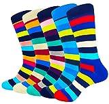 HIWEAR Mens 5er-Pack Bunt gemusterter Luxus-Design-Komfort-Kleid aus Baumwollbeiläufiger Socke UK 6-14 (L:UK 8-12/EU 41-46, Stripe5-5 pack)