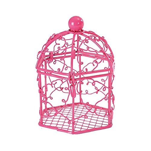 Preisvergleich Produktbild Kleine Voliere aus Metall, pink, 2 St. - Weißes Tischaccessoires in der Optik einer Voliere