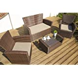 Port Royal Classic Rattan 4 Seater Lounge Set, Brown, with Coffee Table