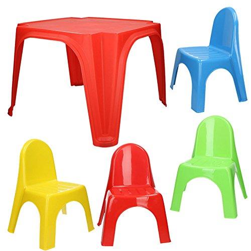 Kinder Sitzgruppe Tisch mit 4 Stühlen Kindertisch Kindermöbel Möbel Stuhl Garten