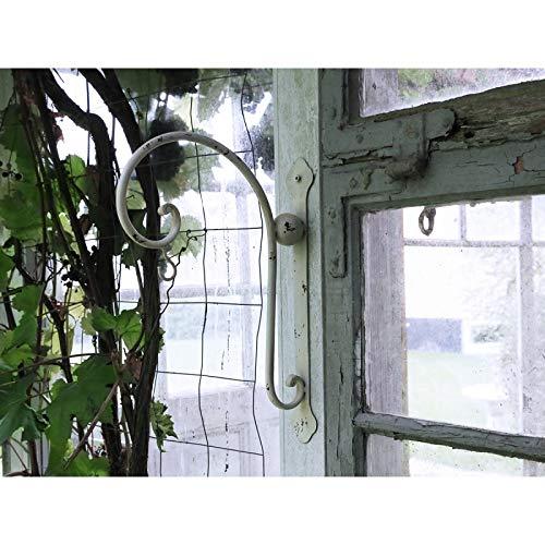 Chic Antique Haken Wandhaken f. Blumenampel Metall Laterne Shabby Creme Landhaus...H35xL25xB5cm Antikweiss Gusseisen