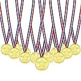 Febbya Gold Medaillen, 30 Pack Kunststoff Kinder Medaille Mini Olympics Goldmedaillen mit Schlüsselband für Kindergeburtstag Party Spiele Prizzes Wettbewerb Awards 4CM