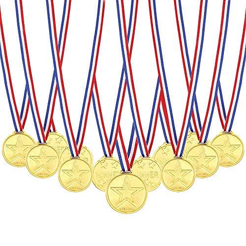 Febbya Medallas para Niños,Medallitas Juguetito de Plástico 30 Piezas Ganadores Medallas Oro...