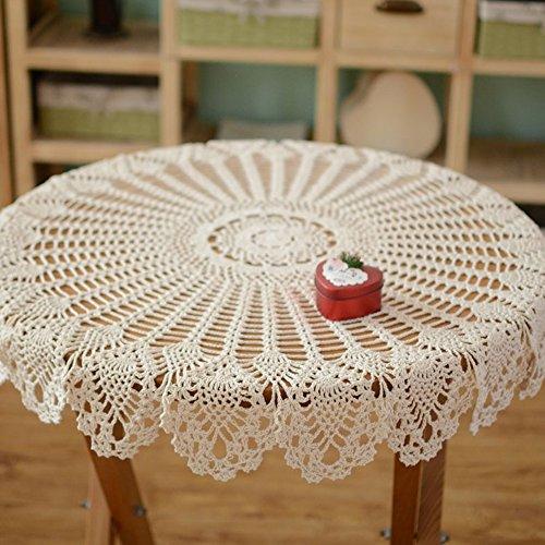 Yazi rund Tischdecken Hand gehäkelter Blume Tisch Cover Hollow Design für Küche Leinen Decor Beige 90cm (Leinen Runde Tischdecke 90)