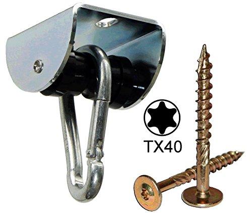 Rollengelenk HOLZ m. Montageset für Holzbalken (MAR.2), sicherer Schaukelhaken, Schaukelgelenk mit Kugellager in Einem -