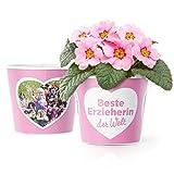 Beste Erzieherin Geschenk - Blumentopf (ø16cm) | Kindergarten Abschiedsgeschenk für die beste Erzieherin der Welt mit Bilderrahmen für zwei Fotos (10x15cm)