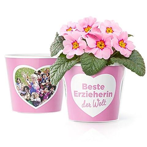 Erzieherin Geschenk Blumentopf (ø16cm) | Kindergarten Abschiedsgeschenk für die beste Erzieherin der Welt mit Rahmen für zwei Fotos (10x15cm)