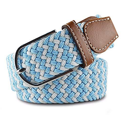 ANSODT - Cinturón Trenzado para Hombre y Mujer, de Lona, con Hebilla, elástico, cómodo, para Estudiantes, Talla G, 120 cm