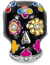 NinaQueen Cráneo artificiales Abalorio de mujer de plata de ley