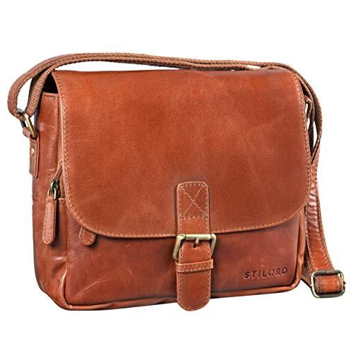 STILORD \'Lucian\' Vintage Umhängetasche Leder klein für Herren und Damen Schultertasche für 10.1 Zoll Tablet iPad DIN A5 Handtasche aus echtem Leder, Farbe:Cognac - glänzend
