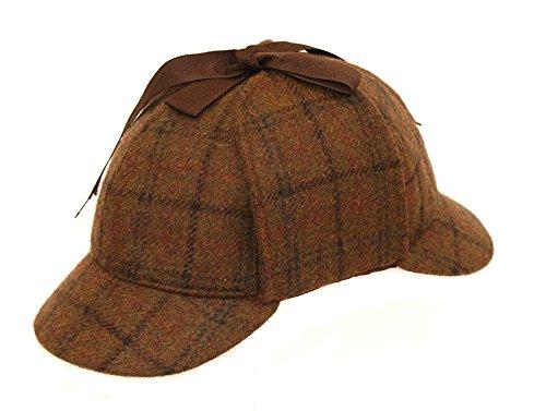 Para hombre 100% lana país Tweed Sherlock Holmes Deerstalker caza Drop orejas sombrero
